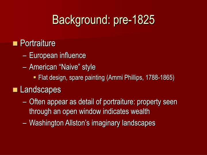 Background pre 1825