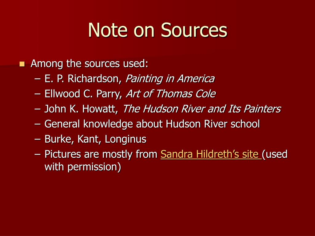Note on Sources