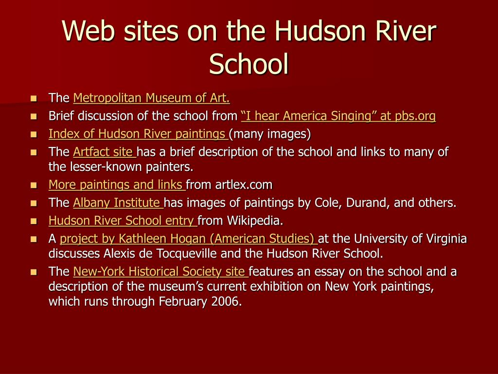 Web sites on the Hudson River School