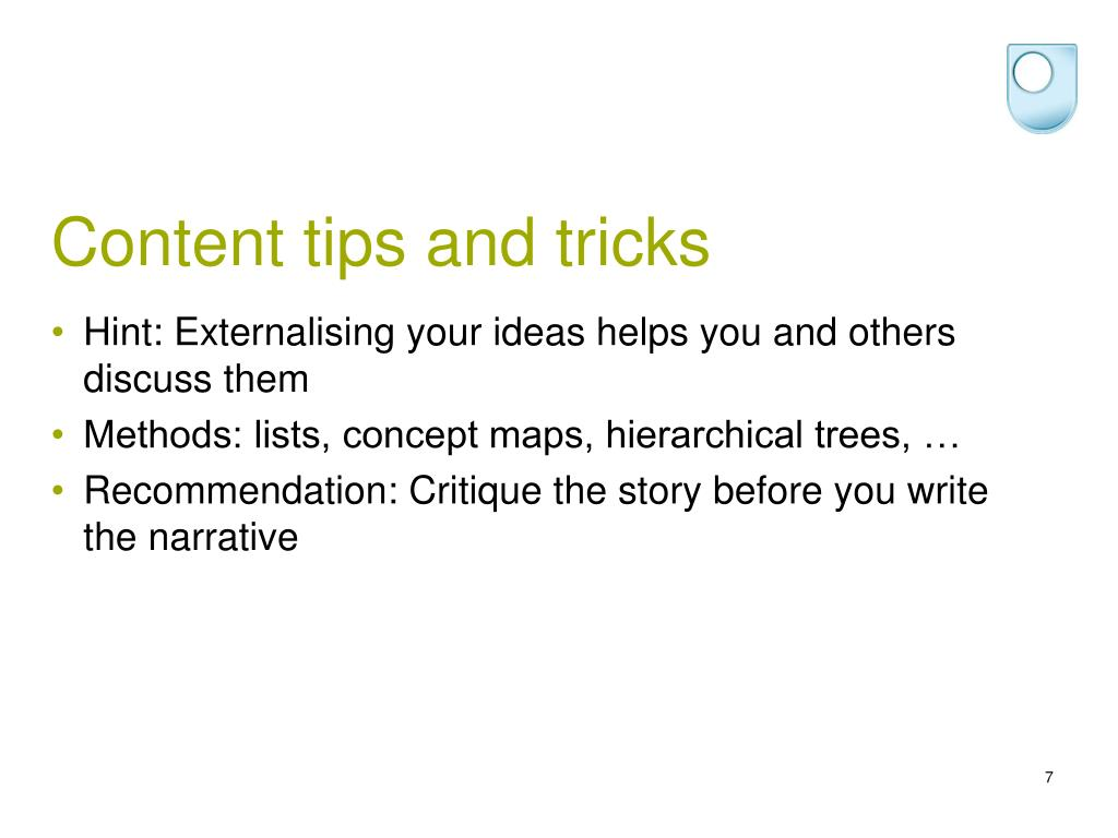 Content tips and tricks