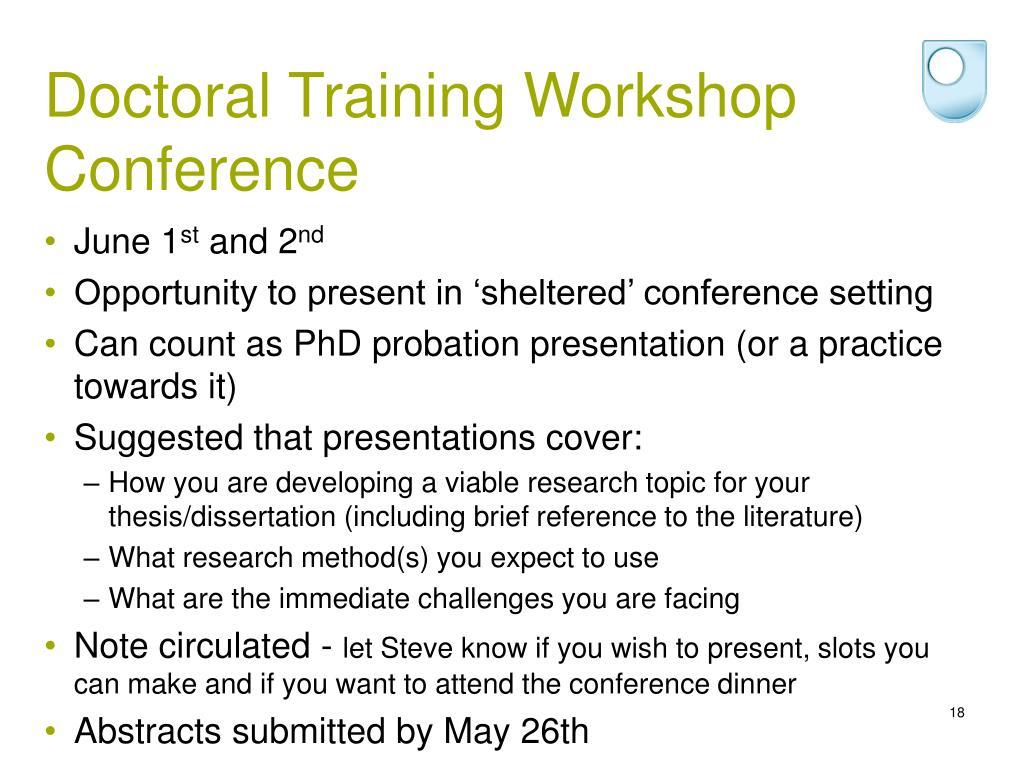Doctoral Training Workshop Conference