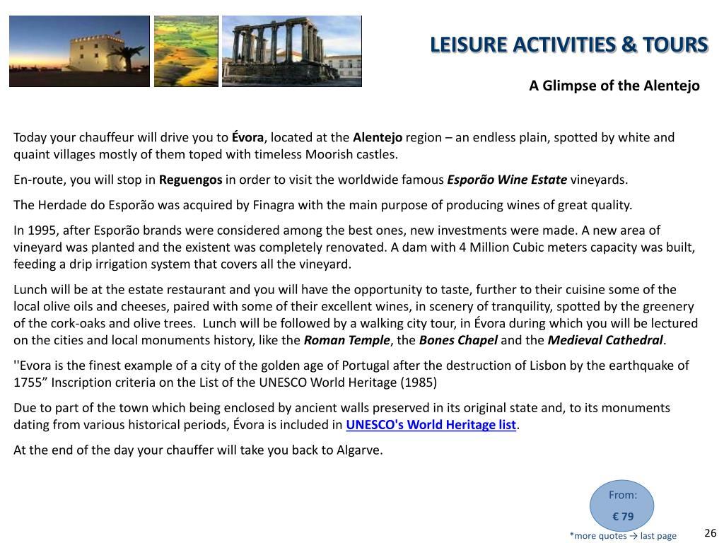 LEISURE ACTIVITIES & TOURS