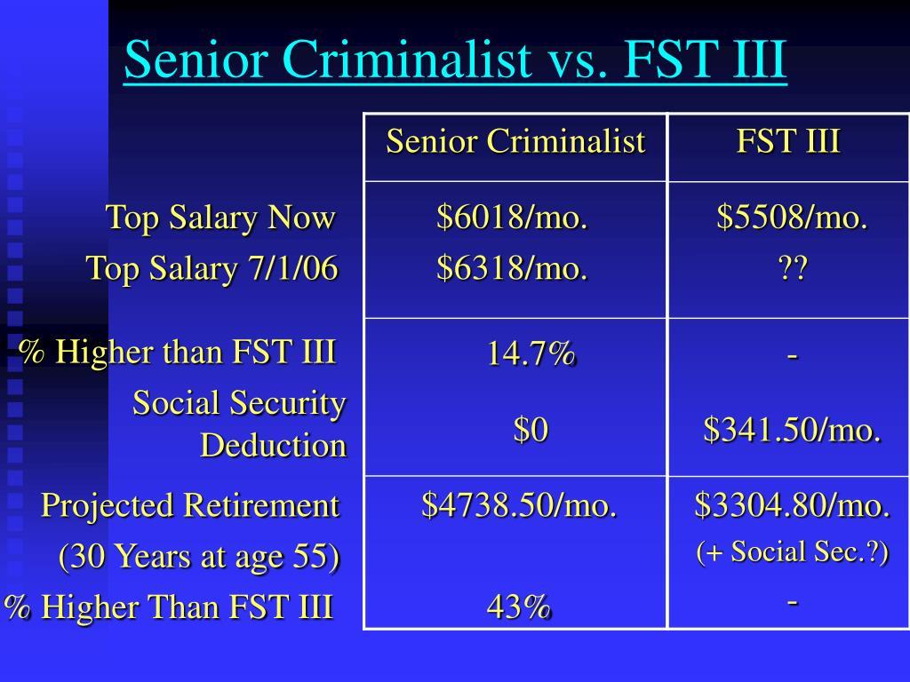 Senior Criminalist vs. FST III
