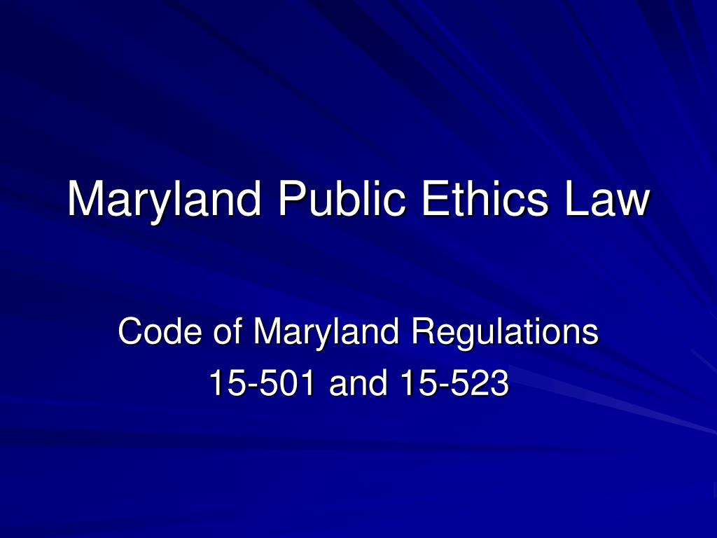 Maryland Public Ethics Law