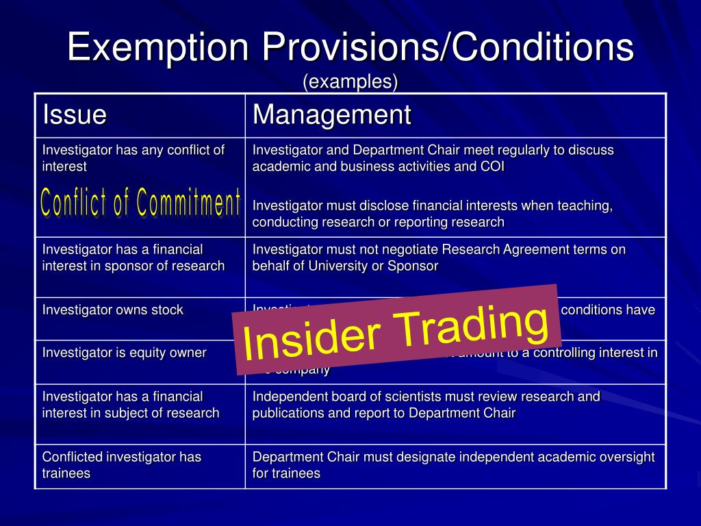 Exemption Provisions/Conditions