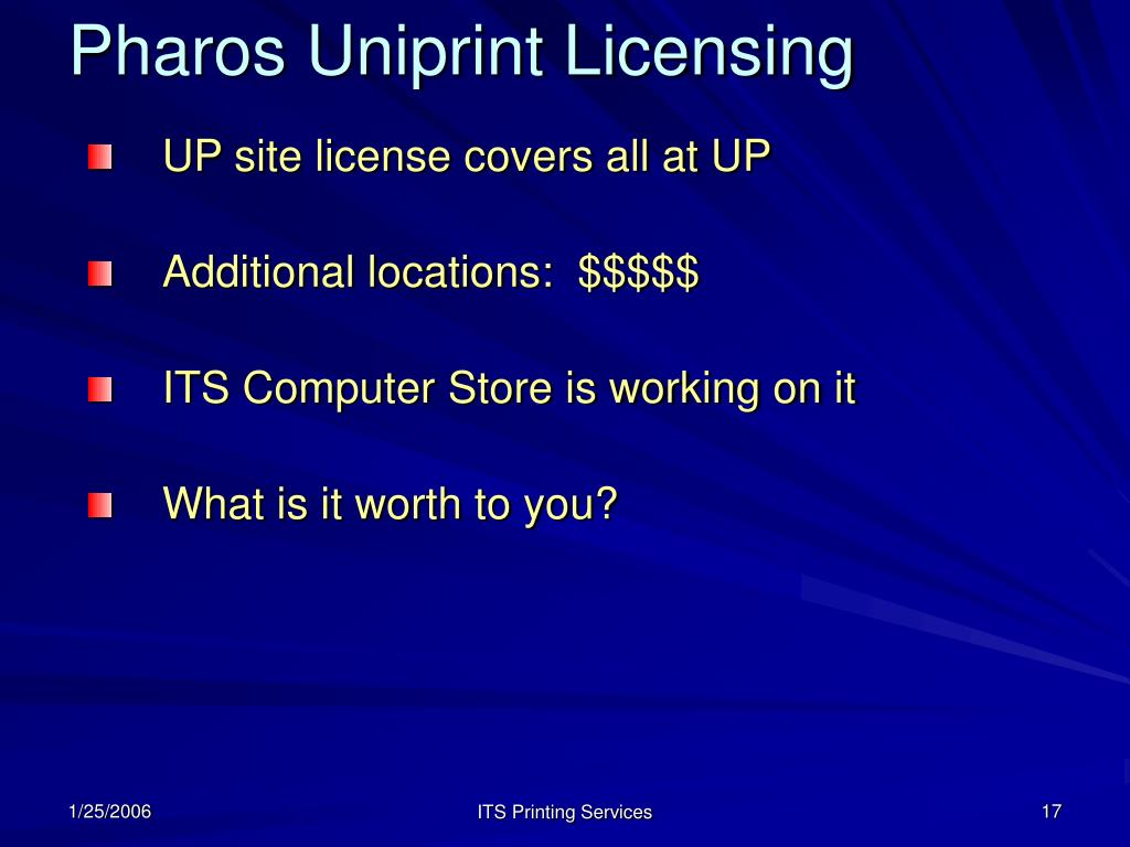 Pharos Uniprint Licensing