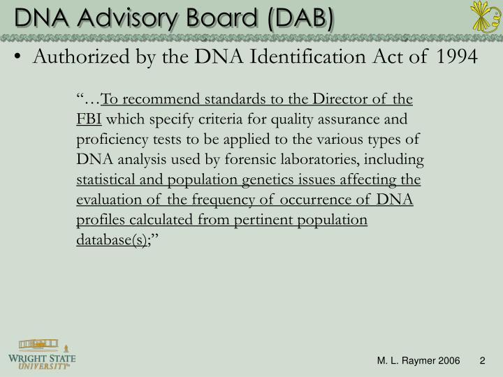 DNA Advisory Board (DAB)