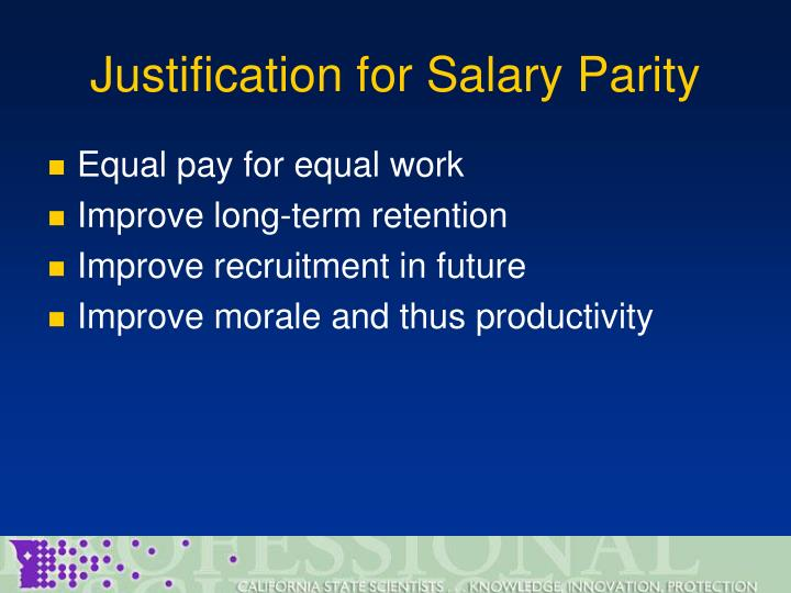 Justification for Salary Parity