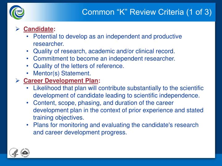 "Common ""K"" Review Criteria (1 of 3)"