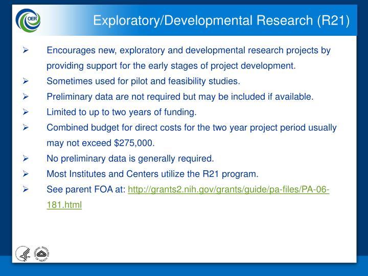 Exploratory/Developmental Research (R21)
