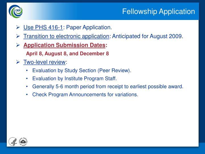 Fellowship Application