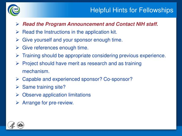 Helpful Hints for Fellowships