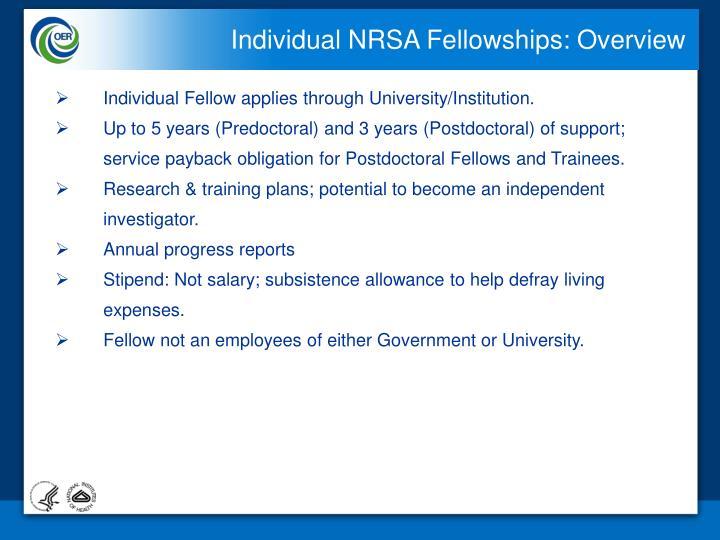 Individual NRSA Fellowships: Overview