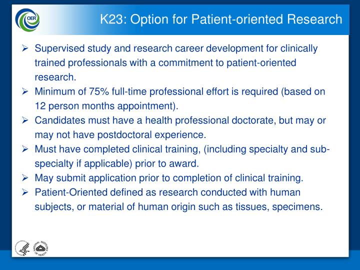 K23: Option for Patient-oriented Research