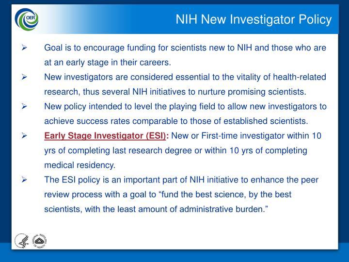 NIH New Investigator Policy