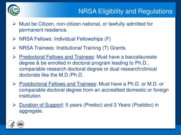 NRSA Eligibility and Regulations