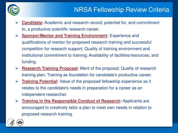 NRSA Fellowship Review Criteria