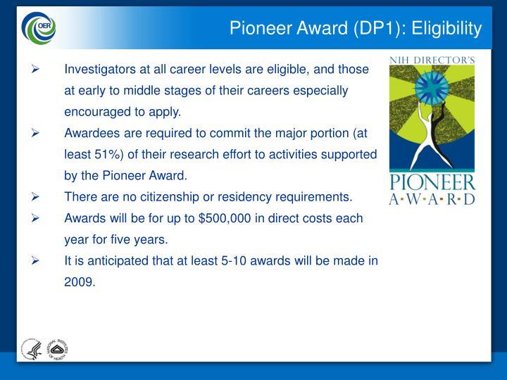 Pioneer Award (DP1): Eligibility
