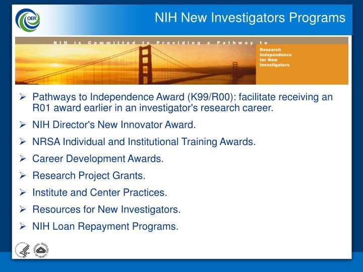 NIH New Investigators Programs