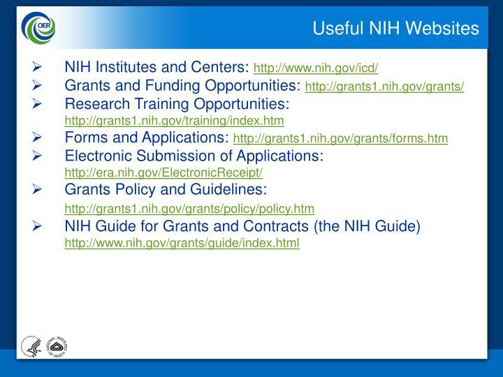 Useful NIH Websites