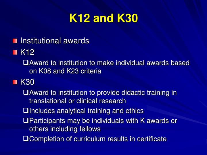K12 and K30