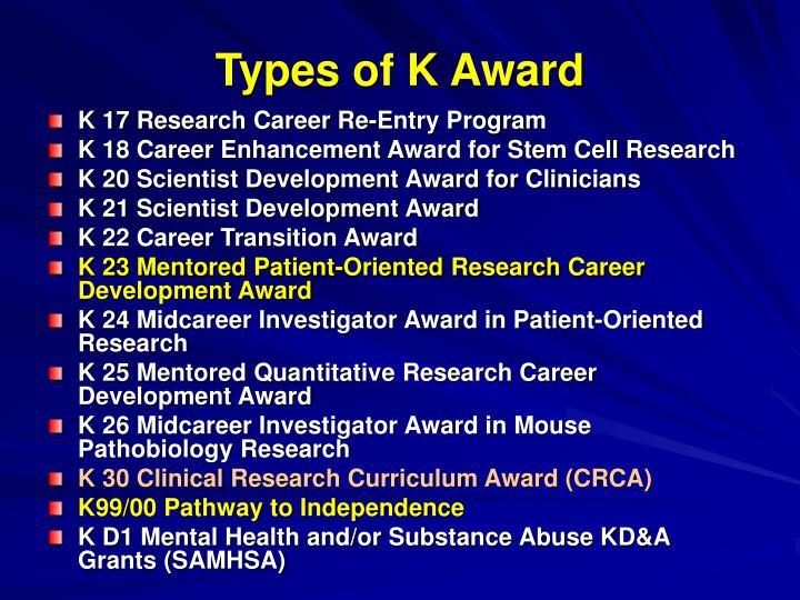 Types of K Award