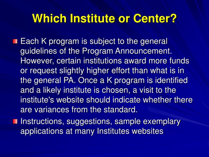 Which Institute or Center?