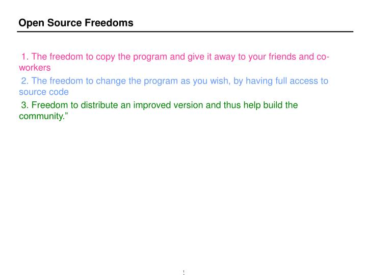 Open Source Freedoms