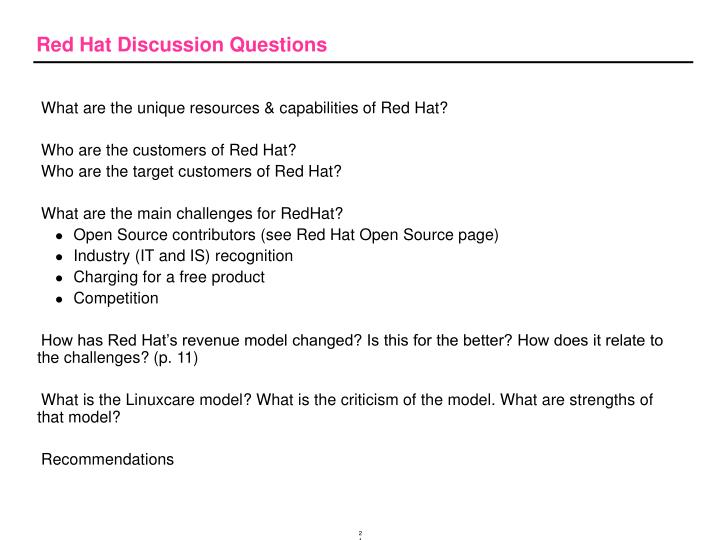 Red Hat Discussion Questions