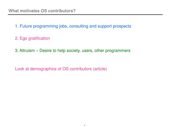 What motivates OS contributors?