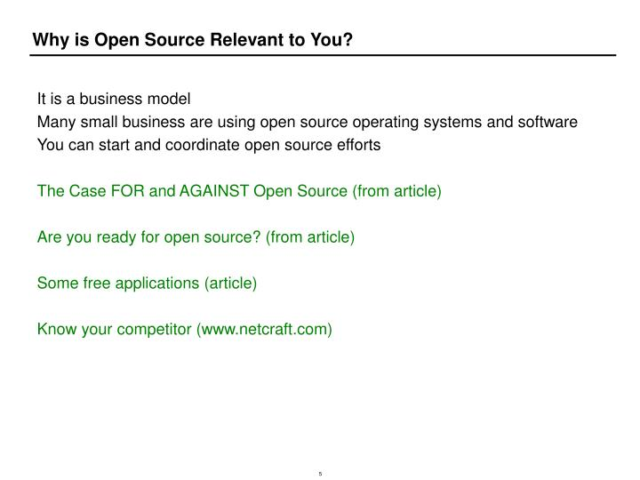 Why is Open Source Relevant to You?