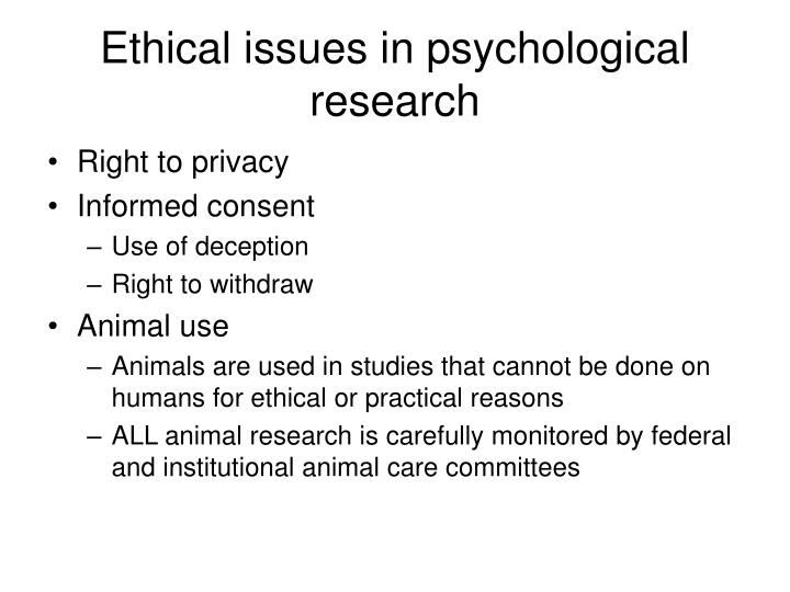 Ethical issues in psychological research