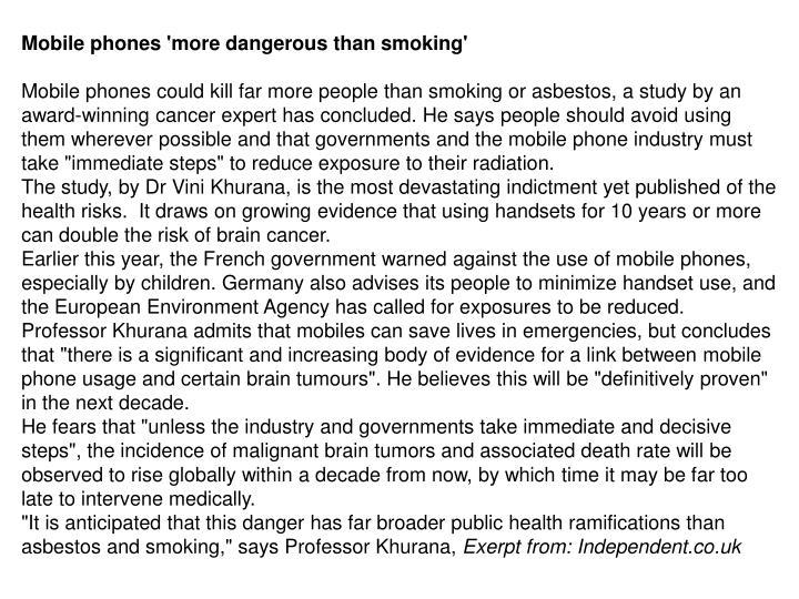 Mobile phones 'more dangerous than smoking'