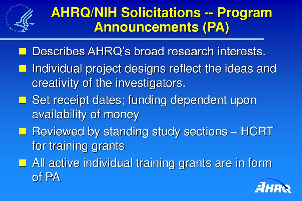 AHRQ/NIH Solicitations -- Program Announcements (PA)
