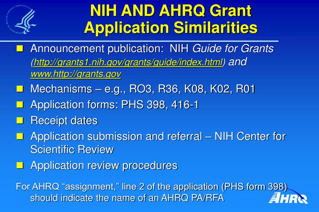 NIH AND AHRQ Grant