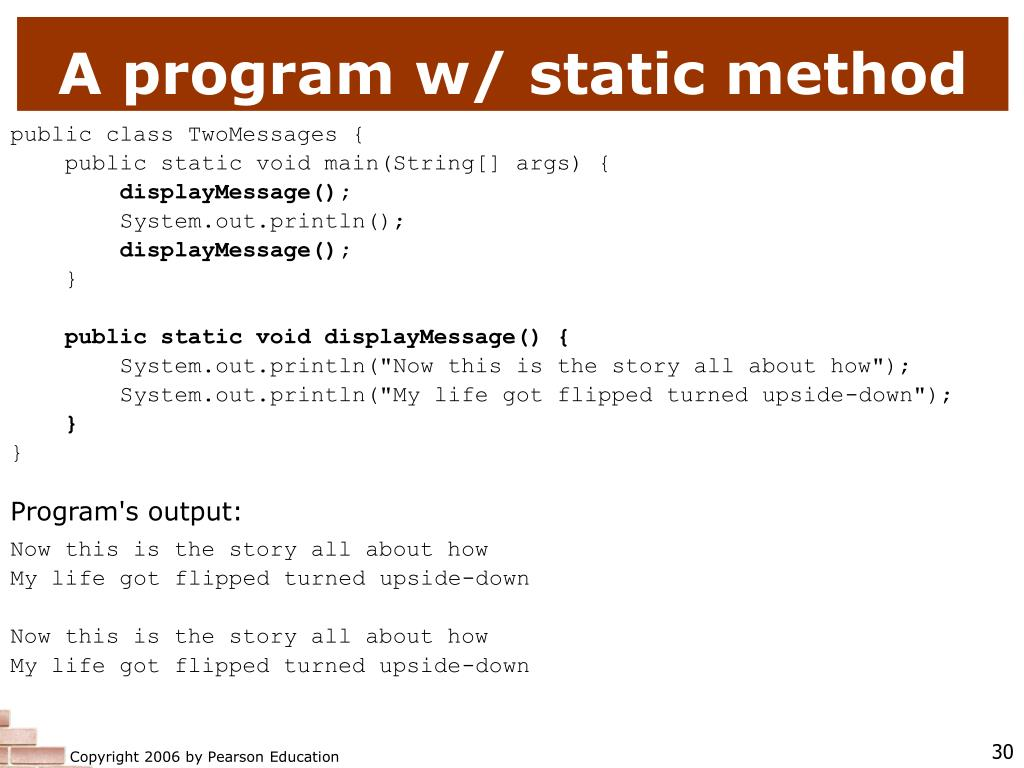 A program w/ static method