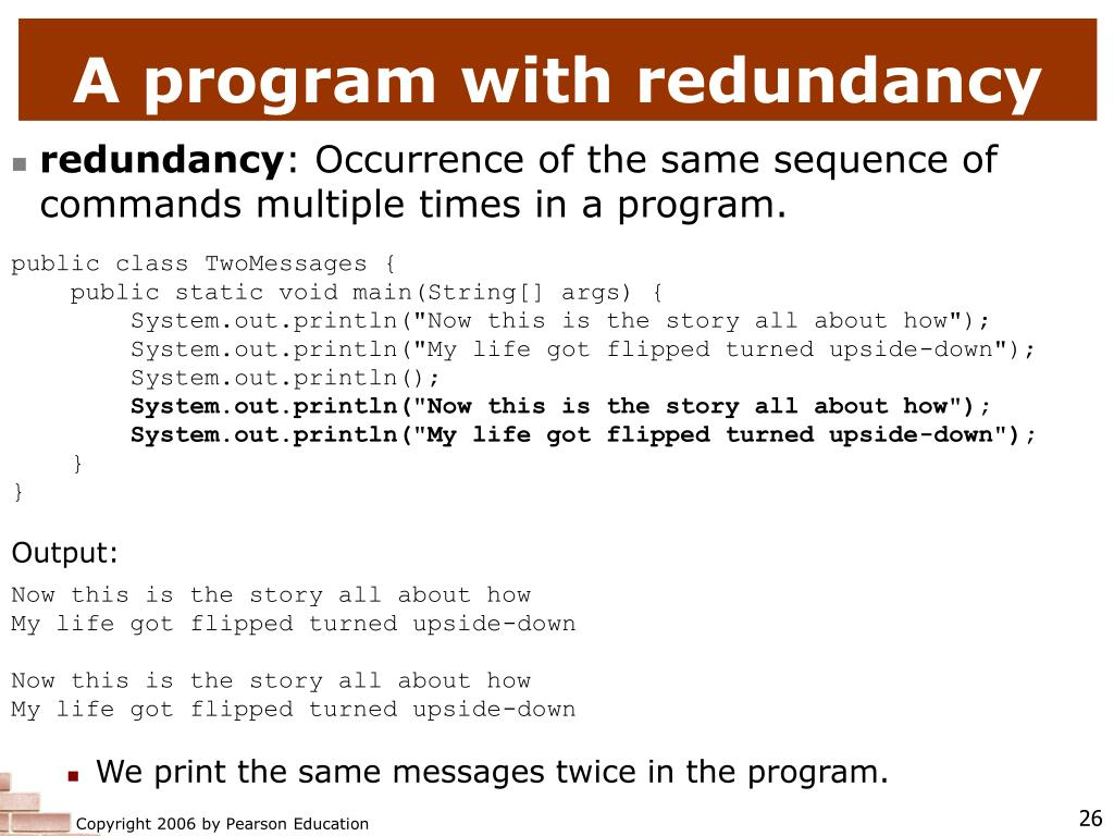 A program with redundancy