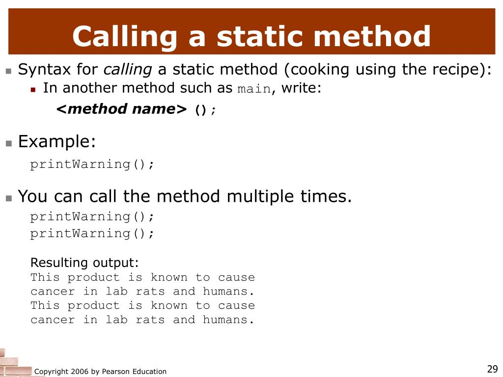 Calling a static method