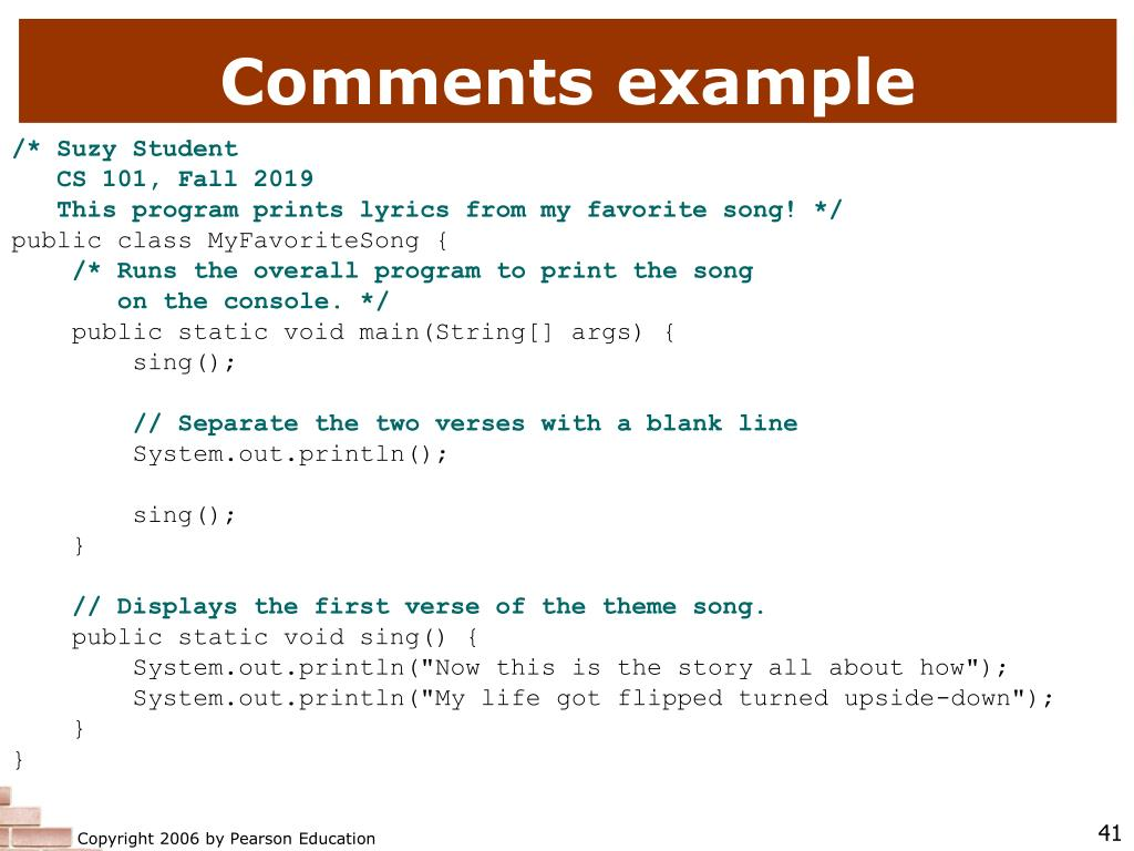 Comments example
