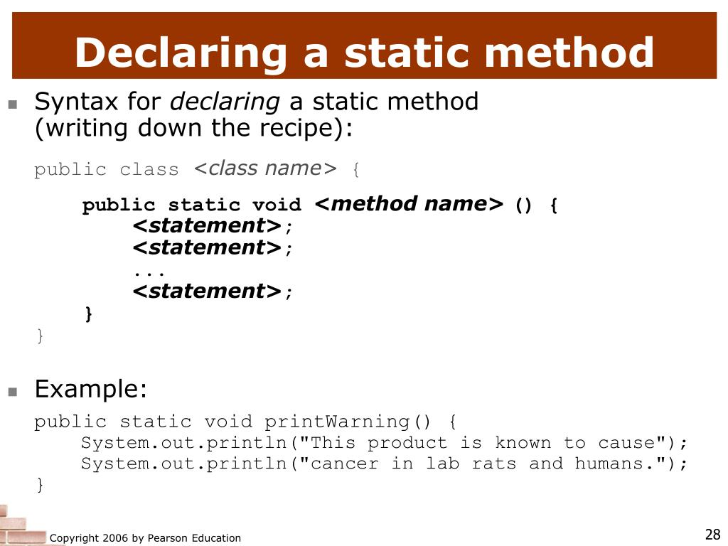 Declaring a static method