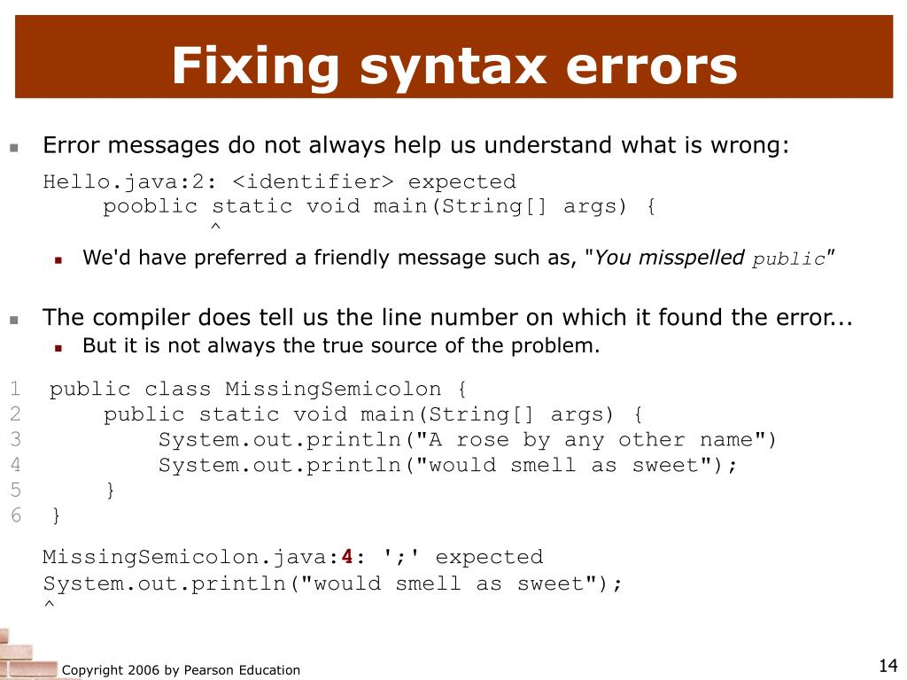 Fixing syntax errors