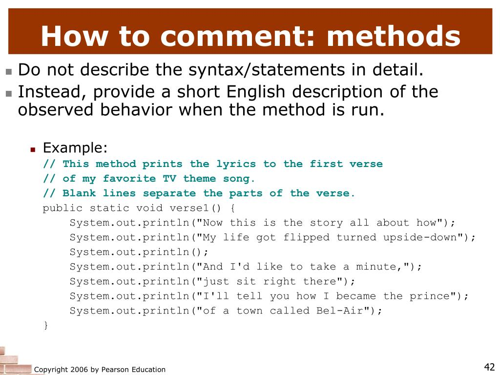 How to comment: methods