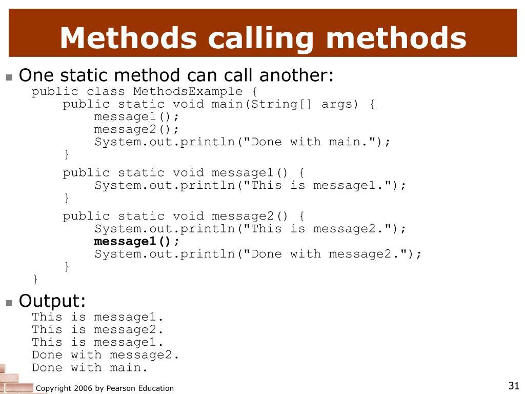 Methods calling methods
