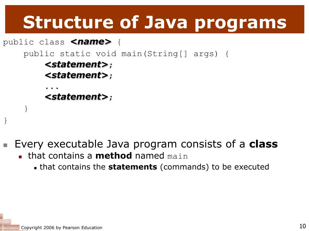Structure of Java programs