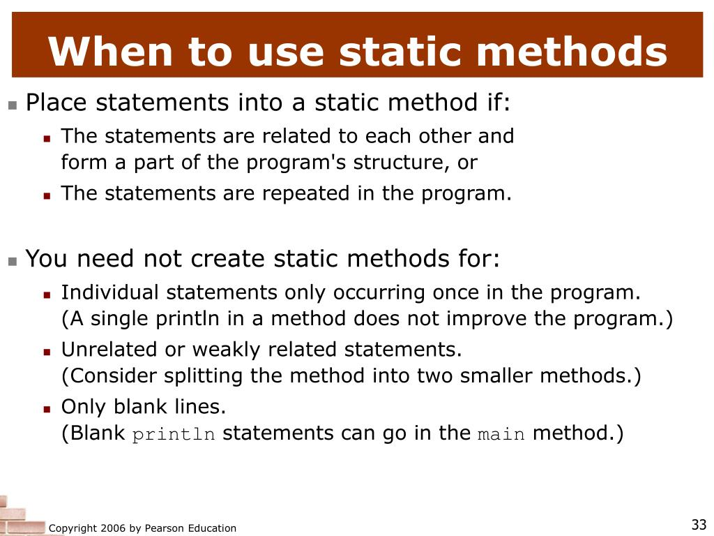 When to use static methods