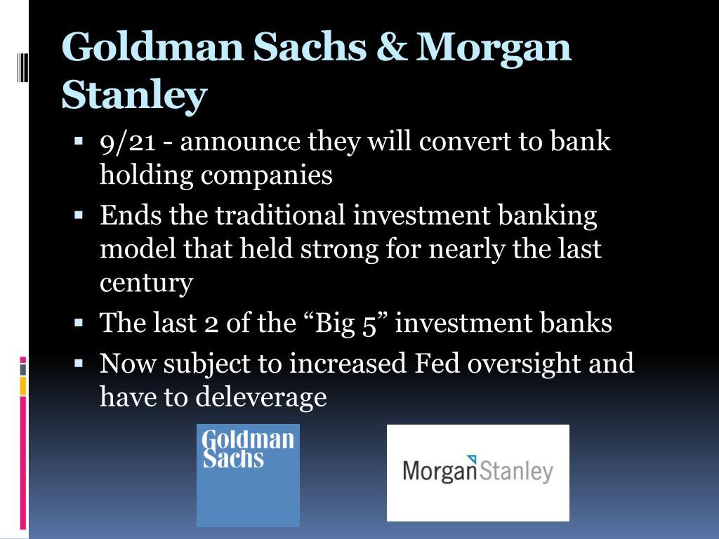 Goldman Sachs Y Morgan Stanley Walicredito
