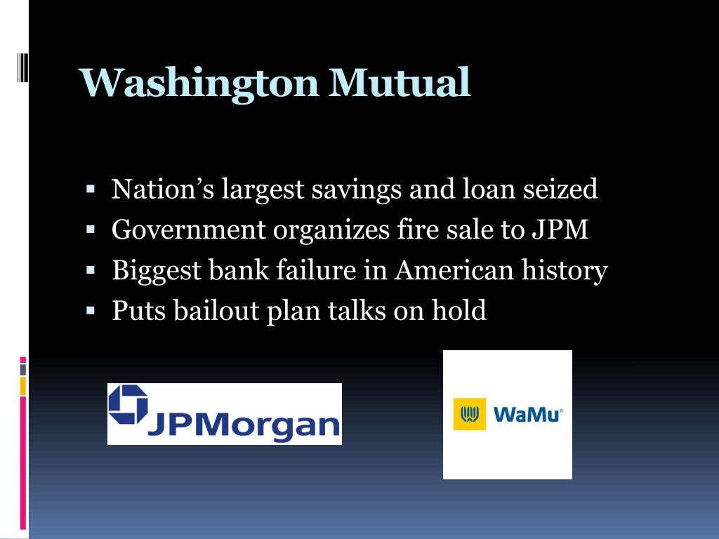 washington mutual failure Very interesting piece on the rise and fall of washington mutual flagged to our attention by barry ritholtz the jacksonville business jour.