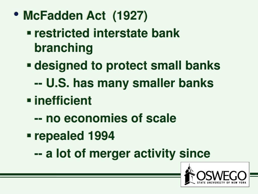 McFadden Act  (1927)