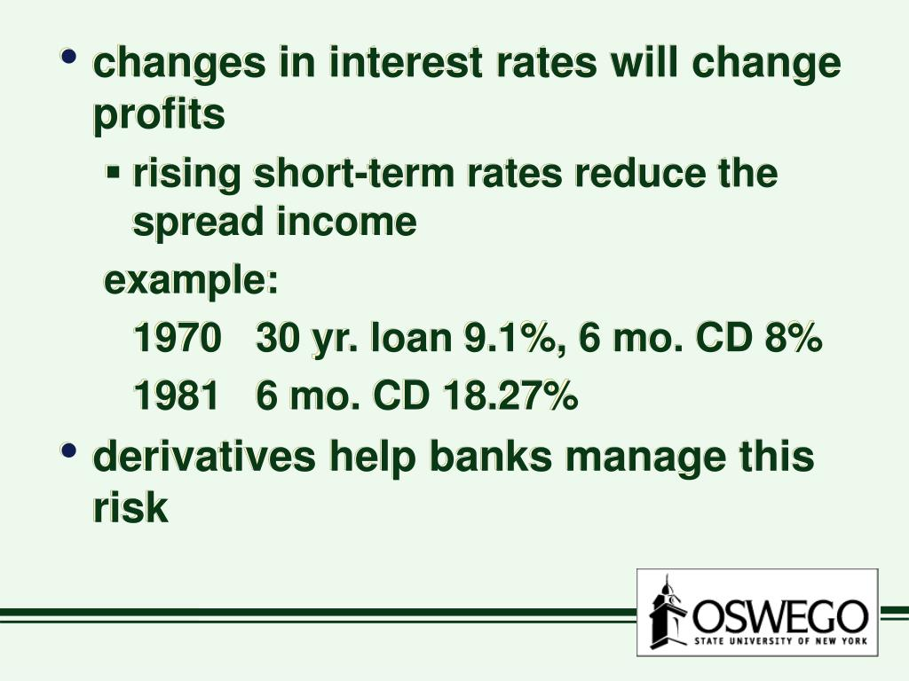 changes in interest rates will change profits