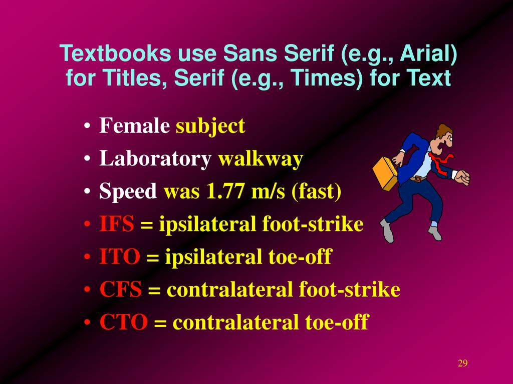 Textbooks use Sans Serif (e.g., Arial) for Titles, Serif (e.g., Times) for Text